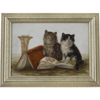 Two kittens and books Bessie Bamber Fl 1900-1910