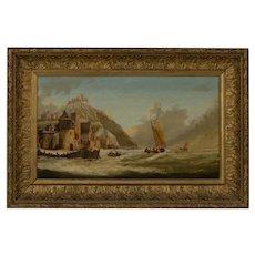 Ships Off A Coastal Castle Jan Dommersen 19th century Dutch oil on canvas