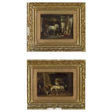 """Equestrian Barn Scene"" (Pair) By Anthony de Bree 1856-1921"