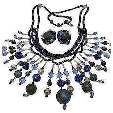 Stunning Hobe iridescent bead fringe necklace and earrings