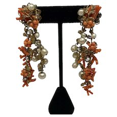 Robert DeMario signed Faux Coral and simulated pearl earrings