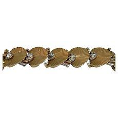 Beautiful gilt Boucher link bracelet with clear rhinestones