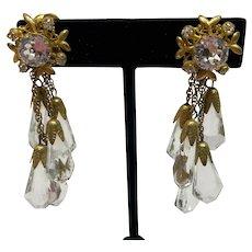 Miriam Haskell, eye catching crystal drop earrings, circa 50's-60's