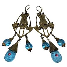 Incredible Czech glass bead earrings with Dragon motif