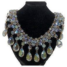 Stunning Iridescent glass beaded fringe necklace