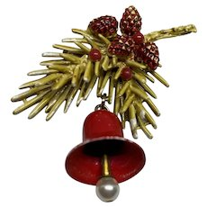 Beautiful ART pine branch and bell pin