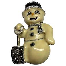 Adorable Eisenberg Ice enamel snowman pin