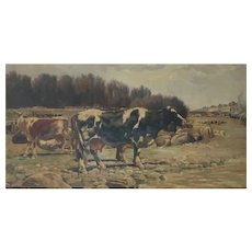Landscape with cows in a Naturalist style by Ramon Mestre Vidal