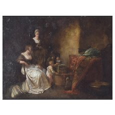 Late 18th Century Oil Painting Domestic Scene