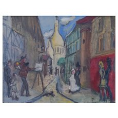 Montmartre scene in the style of Michel Georges-Michel