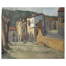 Rural Street Scene, 1940-60 by Durán. Oil on Board.