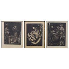 3 Etchings with images of a Woman by Maria Josefa Colom