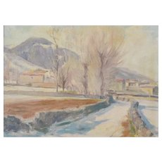 Impressionist Snowscape With Trees, Mountains and Village