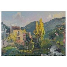 Autumn Landscape with a Riverside Village