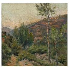 Impressionist style Mountain Landscape at Sunset
