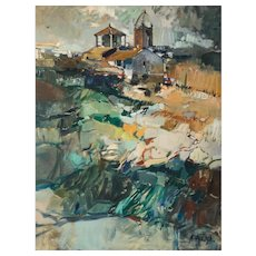 Expressionist Landscape with a View of a Church Tower