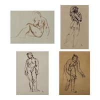 Four Figurative Life Drawings of Women in a Realist style