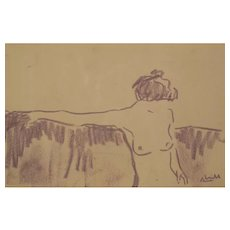 'Naked Woman Sitting' in the style of Egon Schiele