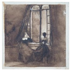 Ladies by a Window - A Drawing in India Ink