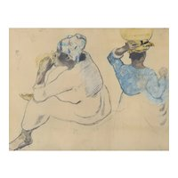Mid-Century Framed Collotype Print of Paul Gauguin 'Martinican Women, 1887'. Collotype Print on paper