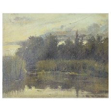 View of a Lake at Dusk. Oil on canvas framed.