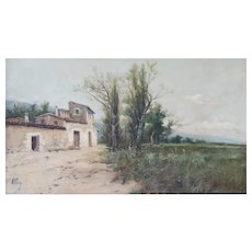 Spanish Landscape with Farmhouse and Wildflower Meadow, Oil on board