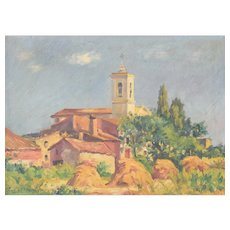 'Sant Andreu de Salou' - Oil Landscape with Village in Golden Light