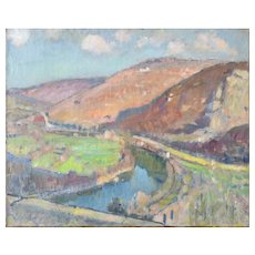 Impressionist Landscape with River Valley