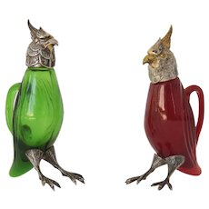 Rare cockatoo star stamp Spanish Silver & Gilt topped vinaigrette red and green glass
