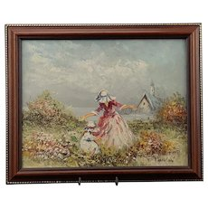 Oil Impressionist Painting Two girls in the meadows Signed P Winson