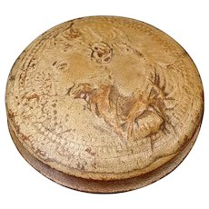 Birch wood snuff box covered in embossed leather King Henry II of France  Early 19th Century  Embossed on the box is the side profile of King Henry II of France and the lettering 'Francorvm Rex Henricvs'  Some of the lettering is not clear and an the