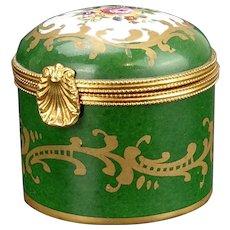 Limoges Dubarry Porcelain de France Green Pill Box