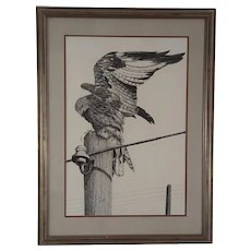 Large Eagle On A Utility Pole Engraving Signed Dixon