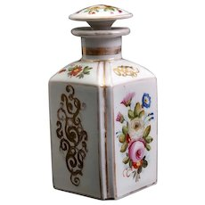 Antique Perfume Bottle with Gilt Scroll Pattern and Floral Design 19th century