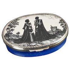 Halcyon Days Enamel The Silver Wedding Pill Box Limited Edition 1972 The Silver wedding of The Queen and The Duke of Edinburgh 33 / 100
