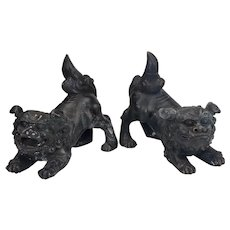 Chinese Antique Bronze Foo Dog Figure Statues 19th Century