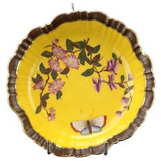 Royal Worcester Porcelain Yellow Floral Butterfly Saucer Bigelow Kennard & Co