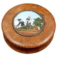 Burr Wood Snuff Box With Miniature Painting Georgian Period