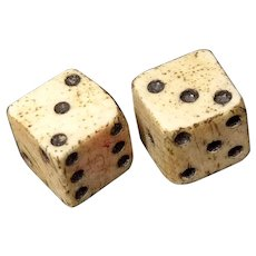 Antique Pair Of Tiny Dice 18th Century With Crown GR Tax Mark