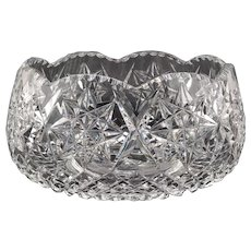Large Cut Glass Crystal Salad Bowl With Star Pattern