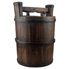 Antique Chinese Wooden Water Carrying Bucket Early 19th Century