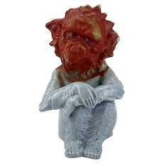 German Ceramic Blue Monkey with red Head Figurine 19th century