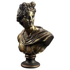 Greek Bronze Apollo Bust Statue Signed