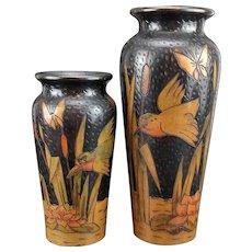 Pair Art Nouveau Poker Work Wood Vases