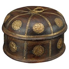 Indian Mughal Style Wood and Brass Pandan Betel Box c1900s