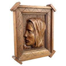 Mary Magdalene Large Carved wood Panel mid 19th century with later frame