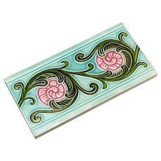 Antique Japanese Tile Art deco Turquoise and pink half tile by NTK