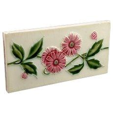 Saji tile works Japanese Tile Art deco pink and green half tile