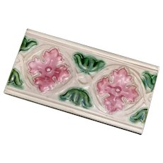 Antique Japanese Tile Art deco pink and green half tile by MGK