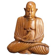 Carved Wood Buddhist Seated Luohan Arhat Statue Figurine Late 20th century